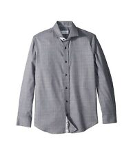 Robert Graham Men's 16.5 Mel Solid Weave Charcoal l/s Dress Shirt NEW with tags