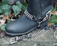 BIKER BOOTS BOOT CHAINS BLACK TOPGRAIN COWHIDE LEATHER WITH DOUBLE STEEL CHAINS
