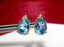 14K YELLOW GOLD OVAL BLUE TOPAZ GEMS & DIAMONDS STUDS EARRINGS 1.6 GRAMS