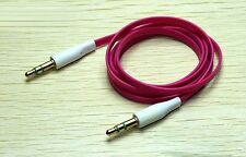 Hot Pink Flat 3.5mm Auxillary Aux Audio Headphone Cable Cord Male-Male- 1 Metre