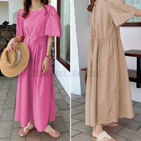ZANZEA Women Short Sleeve Sundress Kaftan Back Button Long Maxi Shirt Dress NEW