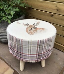 """COUNTRY FOOTSTOOL! """"HIGHLAND STAG"""" COORDINATING LYTHMORE PLUM CHECK"""
