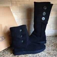UGG CLASSIC CARDY BLACK TALL KNIT BOOTS US 8 WOMENS 1005819