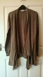 Fat Face Drape Cardigan Size 12 Natural Moleskin Brown Cotton with embroidery