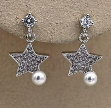 18K White Gold Filled Earrings Zircon Topaz Pearl Star Ear Stud Drop Women Porm