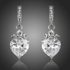 Designer Fashion Shiny Clear White Zircon Heart Stone Party Women Drop Earrings