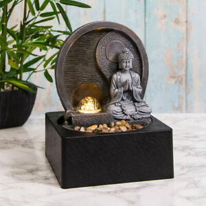 Indoor Water Fountain with LED Light Yin Yang Buddha Zen Meditation Home Decor