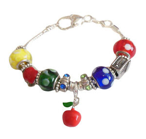 """Teacher Gift Thank You Bracelet Charms Beads Silver 8"""" IN GIFT BOX"""
