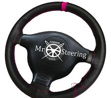 FOR VW GOLF Mk4 GTI 97+ PERFORATED LEATHER + HOT PINK STRAP STEERING WHEEL COVER