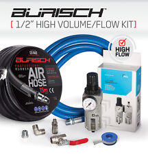 "High Volume Flow Air hose PCL Regulator Water Trap 1/2"" BSP kit + 15M airline"