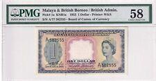 1953 Malaya & British Borneo 1 Dollar P-1a S/N A/77 502555 PMG 58 Choi About UNC