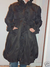 Kiton Napoli black rushed gathered raincoat/jacket flower appliques 48 ret $1499