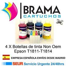 4 X CARTUCHOS RECARGABLES Y 4 BOTES DE TINTA NONOEM EPSON T1811 XP312 , XP315