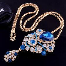 Grand 14 K Gold Necklace Pendant Blue Sapphires and Simulated Diamonds