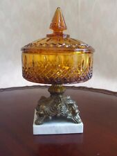 Amber Indiana Glass Covered Dish Ornate Metal Pedestal on Marble Base