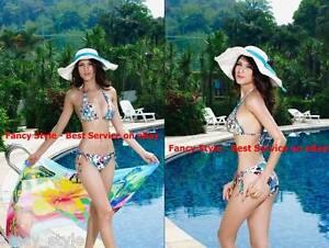 Classic Multi Colour Flower String Triangle Padded Bikini Set S M L NEW swimwear