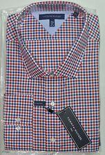 Tommy Hilfiger Men's Dress Shirt Tall Long 20 35/36 Red White Blue Multi Cotton