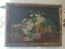 Antique Framed Oil Painting Flowers & Bible On Canvas