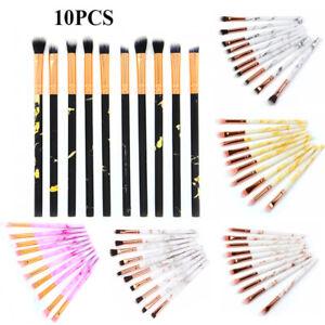 10PCS Marble Eyeshadow Brushes Eyeliner Blending Eyebrow Make Up Brush Set UK
