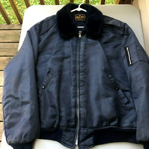 Vintage Bomber Jacket Timber King Fur Collar Size XXL Flight Pilot Blue 2XL