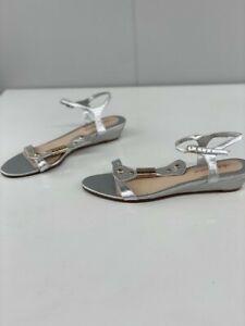 Diana Ferrari Womens Leni Silver Leather Strappy Sandal Wedge Heel Size 6.5