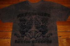 Men's Affliction Winged Lions Denim Killers Textured Graphic T-Shirt (Large)