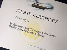 "Authentic POTUS Clinton ""Welcome Aboard ..."" HMX-1 Flight Instru. & Certificate"