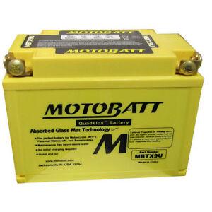 Motobatt MBTX9U Premium AGM battery 160CCA equiv to YTX9BS YT12ABS YTZ12S YTZ14S
