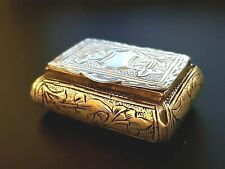 Solid Sterling Silver Snuff Box Etched Engraved Antique 24 gr