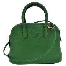 AUTHENTIC HERMES BOLIDE MINI GREEN COUCHEVEL HAND BAG POUCH GHW VINTAGE NR10478k