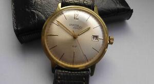 Wunderschöne Herren ⌚ ANKRA NAUTIC 52 Date Handaufzug vergoldet Vintage 60er Uhr