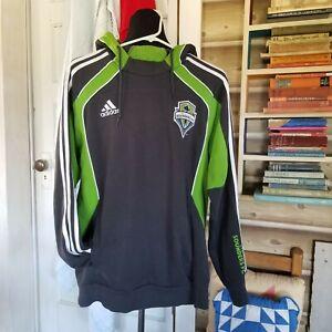 NICE Adidas Seattle Sounders Mens Hoodie Sweatshirt Jacket Men Size M Gray/Green