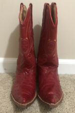 Los Altos Boots Full Quill Ostrich Red Mens Size 7.5 EE