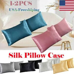 USA Soft Mulberry Silk Pillowcase Satin Pillow Cases Cushion Covers Home Bedding