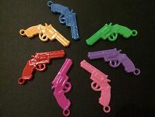 50 Gun Revolver Acrylic 27mm Pendant Charms Chunky Bubblegum Bead Necklace T11