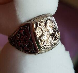 Silber 925 Ring Hl. Georg + Drachen, FEINST DETAILLIERT, schönes Muster Gr. 19