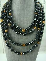 "Vintage Black Crystal Bead Tigers Eye 16"" 4 Strand Necklace"