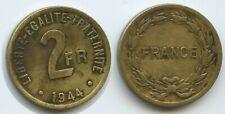 G1164 - Frankreich 2 Francs 1944 KM#905 RAR Messing für Algerien France