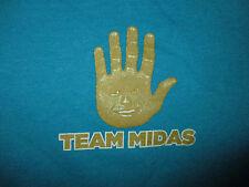 MIDAS HAND COMMERCIALS MASCOT T SHIRT Gold Touch Muffler Auto Repair Mechanic SM