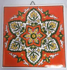 "Vintage H & R Johnson Ceramic Tile Orange Flowers Green White Yellow 6"" X 6"""