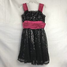 Betsey Johnson Party Graduation Dress 0 Black Hot Pink Sequins Lace 4 Layers