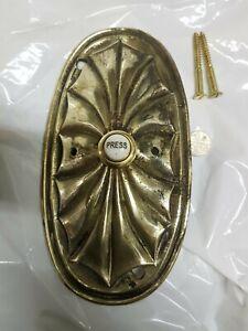 Antique VINTAGE old Victorian Cast Brass Door Bell Push NEW PRESS Ornate LARGE