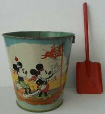 Vintage Mickey & Minnie Mouse Sand Box Pail Bucket Pond Farm Scene + Shovel