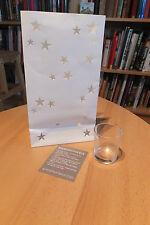 Wunderschöne Kerzentüte - weiß, mit Sternen  und Kerzenglas - neu