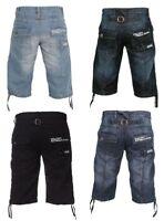 Enzo Mens Shorts Combat Cargo Pockets Casual Summer Knee Length Denim Pants