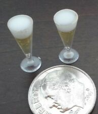 Dollhouse Miniature Set 2 Pilsner glasses filled with Beer 1:12 scale