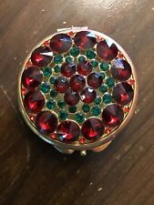 WOW Vintage Mirror Compact Red  Rhinestones