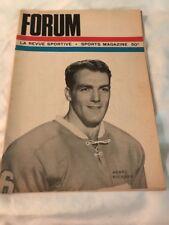 1965 MONTREAL CANADIENS FORUM NHL PROGRAM HENRI RICHARD COVER
