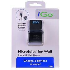 iGo BN00293-0006 MicroJuice Dual-USB 2.0 Wall Charger w/iGO Power Tip Cable