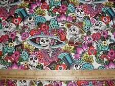 Cotton Fabric Alexander Henry Catrina Chiquita skulls skeletons natural BTY